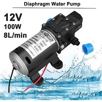 Negro DC 12V 60W Bomba de agua de diafragma micro de presion alta Automatico Apagar 5L // min SODIAL Bomba de agua R