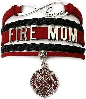 Fire Dept Rescue Service Verre Cabochon Bracelet Tressé Bracelet En Cuir Bracelets