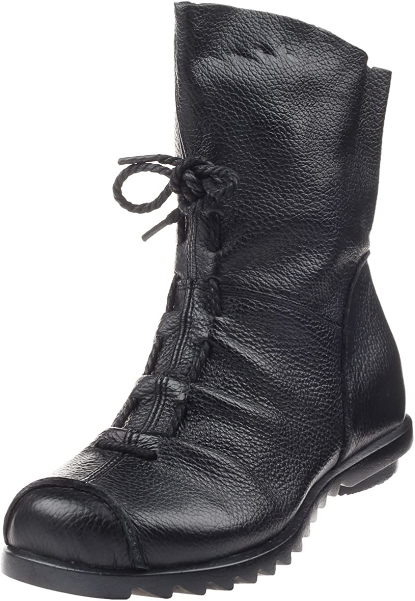 Mordenmiss Women's Cap Toe Boots Handmade Ankle Oxford with Side