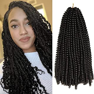 3Packs 12Inch Spring Twist Crochet Hair Passion Twist Braiding Hair Crochet Braids Bomb Twist Crochet Hair Low Temperature Fiber Spring Twists(1B)