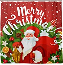 WINTERSUNNY Santa Clause Christmas Fabric Shower Curtain Merry Christmas Words Gift Dreamlike The Santa Claus Bathroom Curtains Pine Ribbon Snowflake Dream Decor Quick Dry 71 X 71