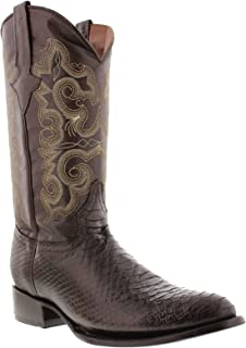 Team West - Men's Brown Python Snake Print Leather Cowboy Boots Round Toe