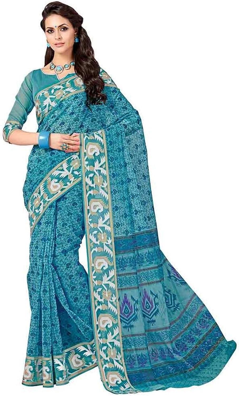 Designer Sarees Cotton Green Screen_Print Casual Sarees