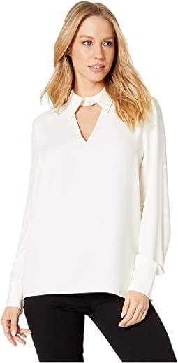 Crepe Top with Collar