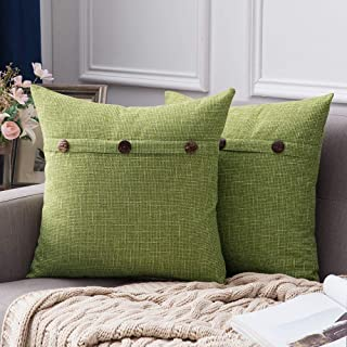 MIULEE Set of 2 Decorative Linen Throw Pillow Covers Cushion Case Triple Button Vintage Farmhouse Pillowcase for Couch Sofa Bed 18 x 18 Inch 45 x 45 cm Green