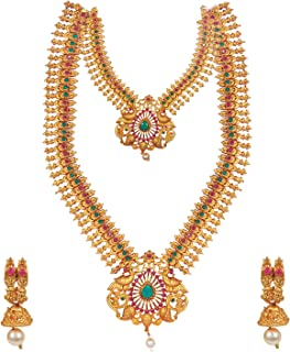 Bodha Tradtional Indian Handcrafted Antique Gold Plated Temple Jewellery Combo Bridal Dulhan Necklace Set With Matching Ea...