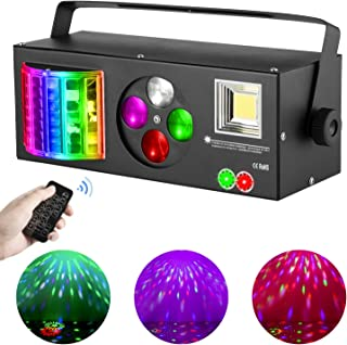 DJ Lights Sound Activated, RGBW Strobe Party Disco Lights with Remote, 4 in 1 Multi-effects Pattern Projector Lights Compa...