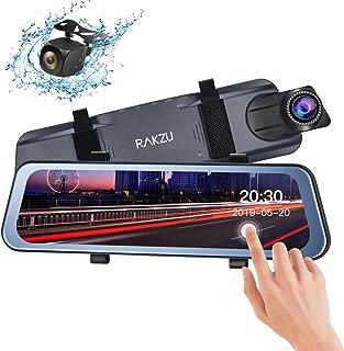 Rear View Mirror Dash Cam, RAKZU 10 Inch Full Touch Screen Streaming 170 Degree Reversing Backup Camera Mirror Cam, Dual 1080P HD Front and Rear Waterproof Camera, G-Sensor Parking Monitor