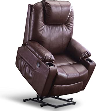 Mcombo Large Power Lift Recliner Chair with Massage and Heat for Elderly Big and Tall People, 3 Positions, 2 Side Pockets and