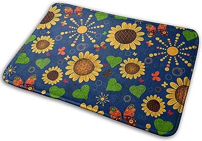 Abstract Sunflower Butterfly Bath Mat Green Heart-Shaped Leaves Non Slip Super Bathroom Rug Indoor Carpet Doormat Floor Dirt Trapper Mats Shoes Scraper 24x16 Inch