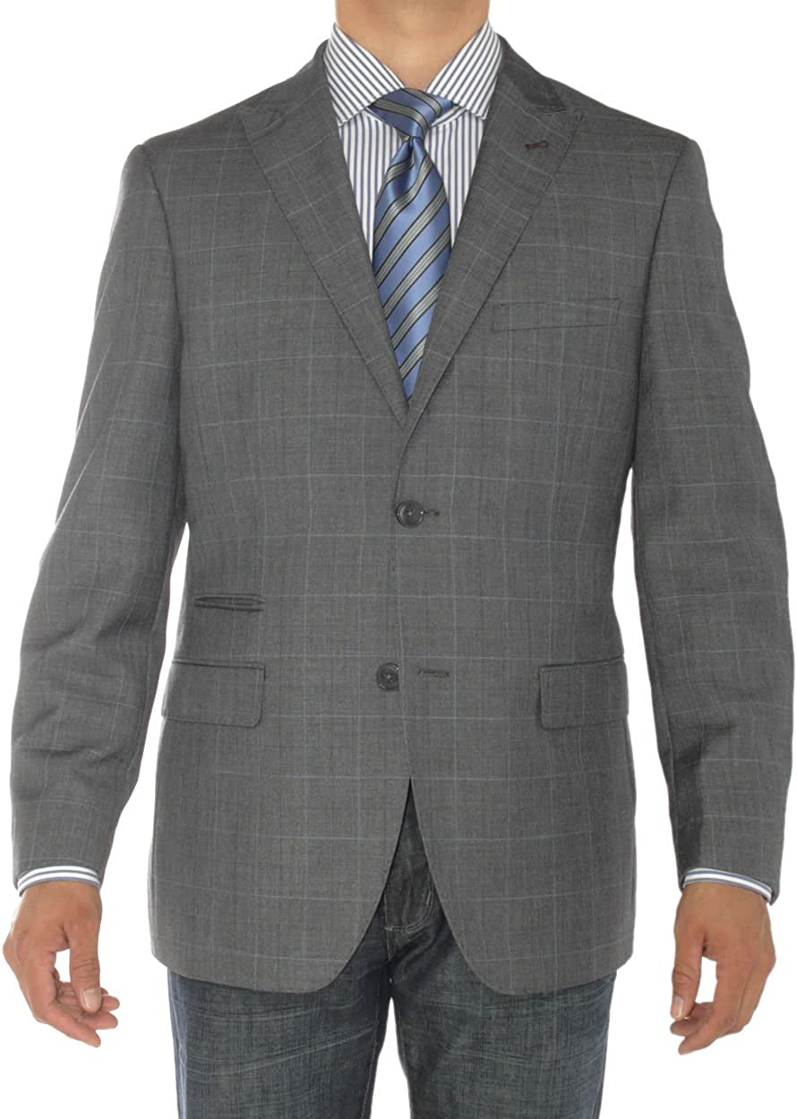 Luciano Natazzi Men's 2 Button Modern Fit Suit Jacket Ticket Pocket Blazer Coat