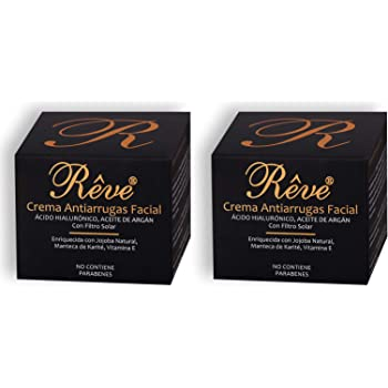 REVE Pack de 2 Cremas Antiarrugas Facial Argán con Ácido Hialurónico + Molecular Film + Vitamina