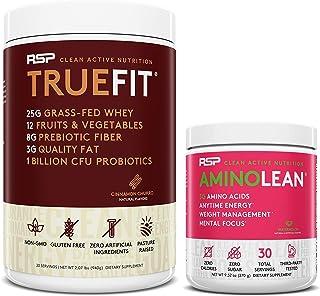AminoLean Pre Workout Energy (Watermelon 30 Servings) with TrueFit Protein Powder (Cinnamon Churro 2 LB)