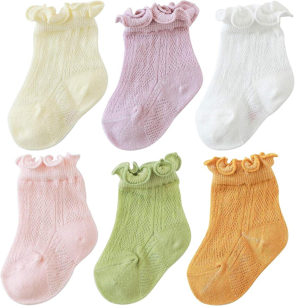 vanberfia Baby Toddler Girls Princess Cotton Frilly Socks Lace Ruffle Thin Mesh Socks 0-5T