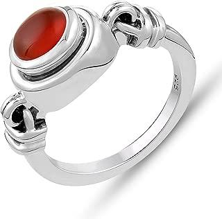 STELLAR DESIGNS Genuine Gemstone Ring - .925 Sterling Silver Ring- Carnelian Ring | Valentine Gifts for Her