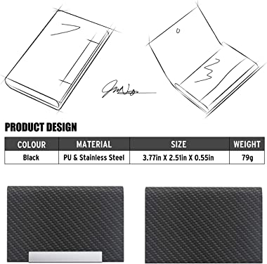 MAZYPO Business Card Holder for Women & Men - Name Multi Card Case, Black Luxury PU Leather Wallet, Credit Card ID Case,
