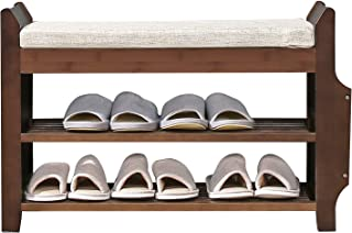 Shoe Bench Rack Nnewvante Shoe Organizer with Storage Side Drawer Bamboo Removable Padded Cushion Seat for Entryway Hallway Living Room Bathroom-29.5in