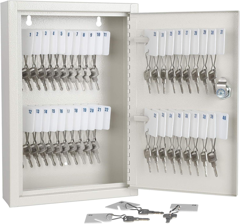 KYODOLED Key Storage Lock Box with Key,Locking Key Cabinet,Key Management Wall Mount with Key Lock,40 Key Hooks & Tags Key Labels,White