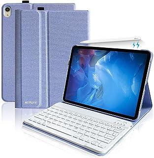 ipad pro 11キーボードカバー ペンシル充電対応 2018 新型 iPadPro11 インチ キーボード ケース アイパッドプロ11 inch カバーiPad pro 11インチ2018最新版専用キーボードケース PUレザーケース 手帳型 スタンド機能付きカバー (ブル-1)