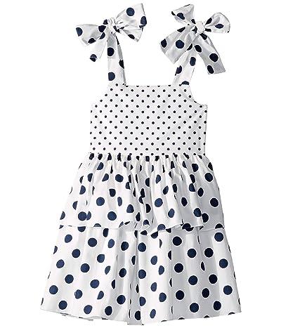 Oscar de la Renta Childrenswear Polka Dot Day Dress (Toddler/Little Kids/Big Kids) (White/Navy) Girl