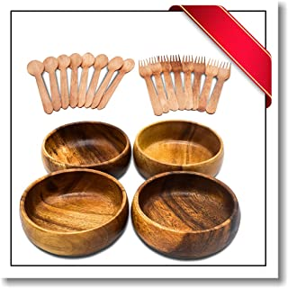 Innovatronix 4 Pieces 6 Inches Handmade Wooden Acacia Calabash Bowls - Set Of 4 Wooden Calabash Bowls - FREE 8 Pairs Of Wood Disposable Spoons And Fork   6x2 Inches