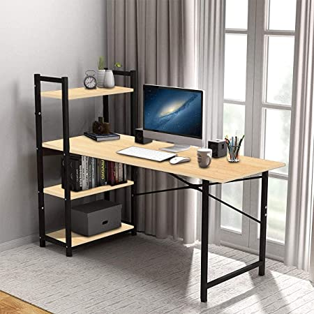 Kawachi Engineered Wood and Metal Computer Desk Writing Study Table with 4 Tier Bookshelves for Home, Office Workstation Beige