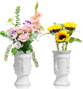 ComSaf Ceramic Flower Vase White Set of 2, Modern Face Flower Vase Tall Posy Bouquet Centerpiece for Home, Wedding, Christmas Decoration Gift(7 Inch Height)