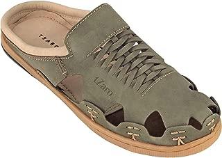 tZaro Genuine Leather Olive Green Slipper - Olive Hector