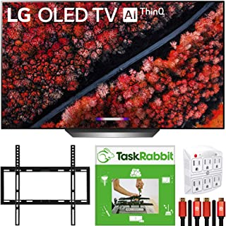 LG OLED77C9PUB 77-inch C9 4K HDR Smart OLED TV with AI ThinQ (2019 Model) Dolby Vision, Dolby Atmos Bundle with TaskRabbit Installation Services + Deco Gear Wall Mount + HDMI Cables + Surge Adapter