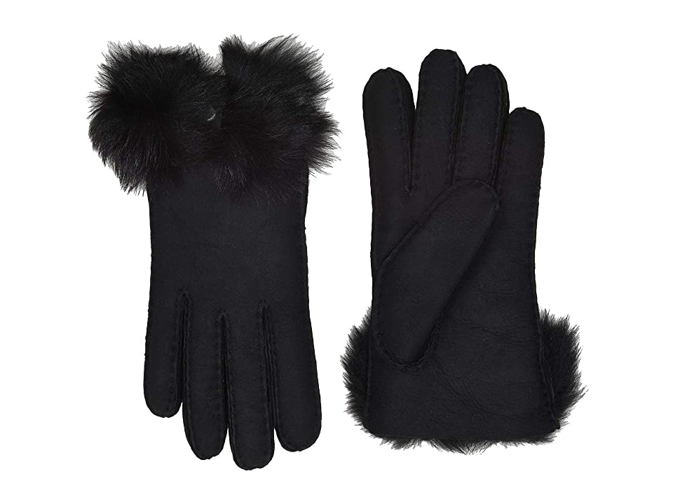 UGG Long Pile Bow Water Resistant Sheepskin Gloves (Black) Extreme Cold Weather Gloves