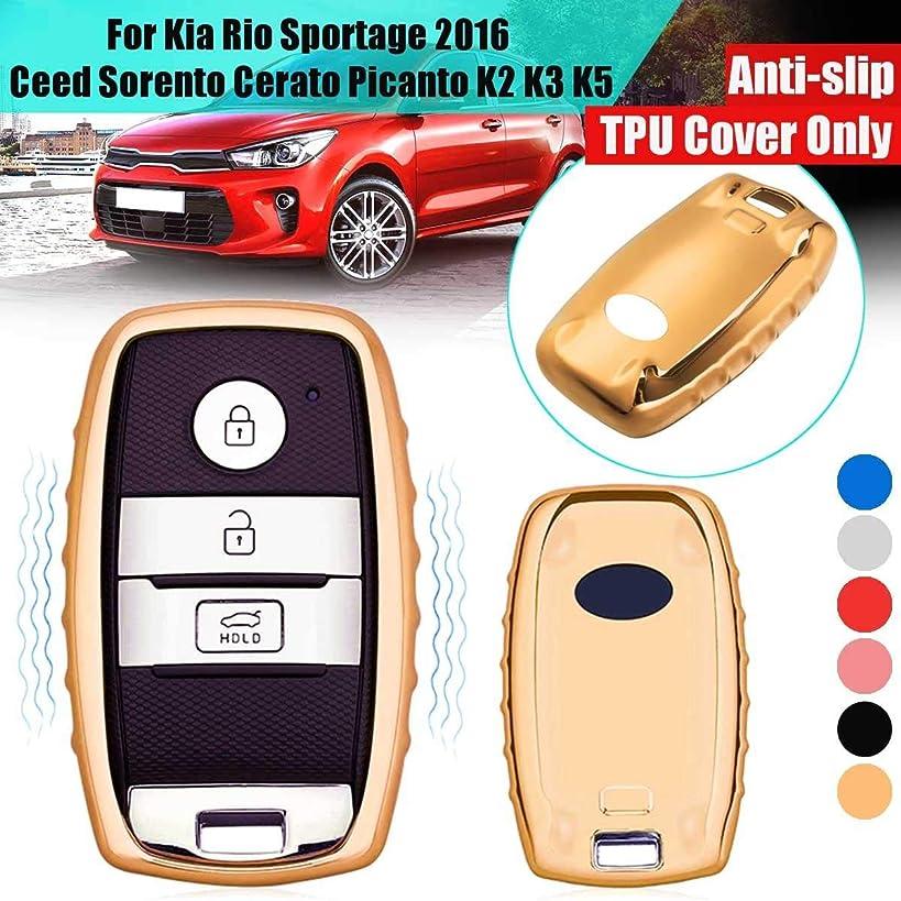 Cacys-Store - Car Key Cover Case TPU For Rio Sportage Ceed Sorento Cerato Picanto K2 K3 K5 Remote Protection Styling Blue Anti-Slip