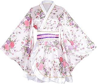 زي كيمونو للنساء البالغات، زي ياباني جيشا ويوكاتا، فستان بتصميم الزهور الرائع، رداء من الساتان للحمام والنوم مع حزام او بي اي