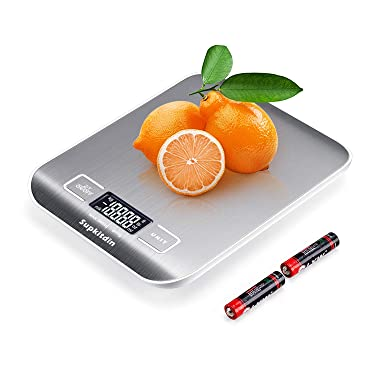 Supkitdin Kitchen Scale, Digital Food Scale, Multifunction Accuracy Scale LCD display,Stainless Steel (oz/lb/g/kg/ml/milk ml)