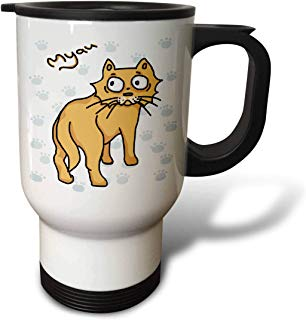 3dRose Warya - Animals. - Ginger Cat Say Meou - 14oz Stainless Steel Travel Mug (tm_299938_1)