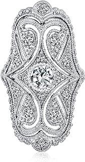 Bling Jewelry Deco Stile Antico di Filigrana Pave CZ Ampia Armor Full Dito Moda Anello Zirconia Cubica Rodio in Ottone Nic...