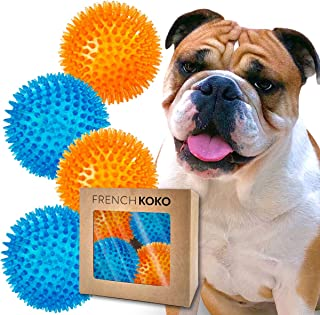 French KOKO 4 Pack Squeaky Rubber Dog Balls, Large 4