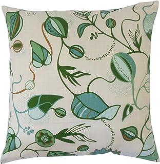 La Almohada Collection Qiana para cojín, diseño de Flores, Color Verde