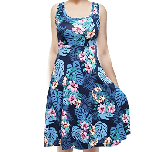 b1ecade42392 ShopMyTrend Women_s Sleeveless Flowy Midi Summer Beach A Line Tank Dress
