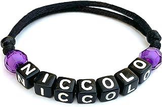 Braccialetto NICCOLO con Nome Messaggio Testo Nickname Logo per adulto, bambino; cubo lettera alfabeto A - Z; Cordoncino d...