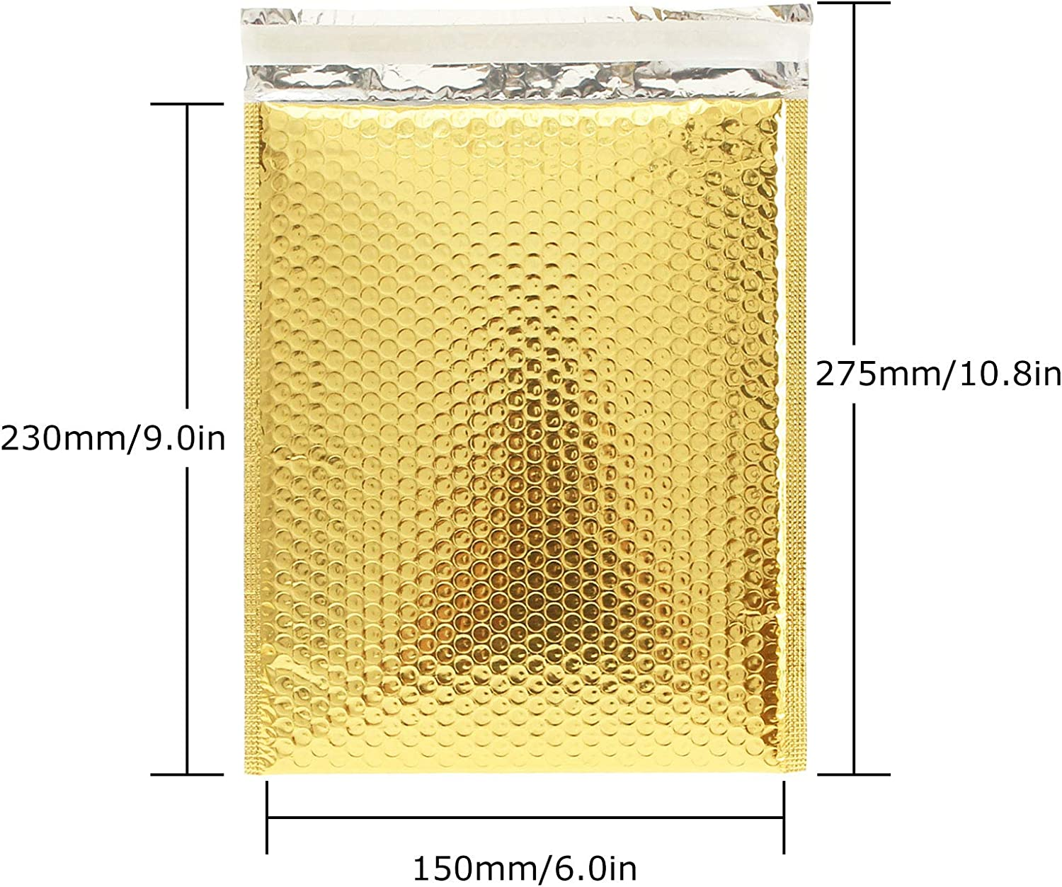 AHUNTTER 80 Pack A5 Golden 152mm x 230mm 6X9 Inch Small Size Poly Bubble Mailers Padded Envelopes Bubble Lined Poly Mailer Self-Seal for Packaging Shipping Mailing