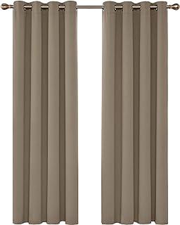 Deconovo Lot de 2 Rideaux Occultants Solides Lourds de Salle de Bain à Oeillets 140cm x 245cm Isolant Thermique Taupe