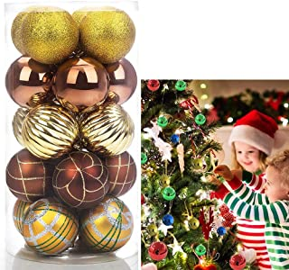VTOLO 20ct Christmas Balls Ornament, Luxury Collection Bronze and Gold Shatterproof Decorations Tree Balls Ornaments 80mm/3.15