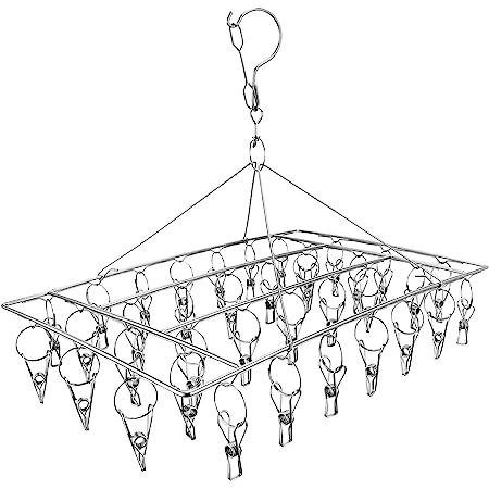 Skroad Etendoir Chaussette, Étendoir à Linge à Suspendre avec 36 Pinces en Acier Inoxydable à l'épreuve du Vent pour Chaussettes,sous-vêtements,vêtements,Serviettes (1 Pack Hanger)