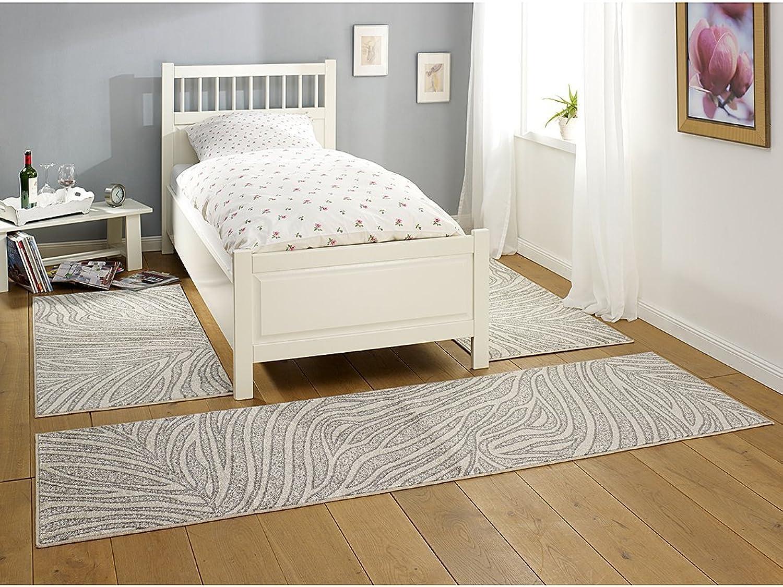 HANSE Home Design Leaf Creme Grau 3-teilige Bettumrandung Teppich Lectus Brücke Lufer Bettlufer Bettbrücke, Polypropylen, 70 x 140 x 0.8 cm