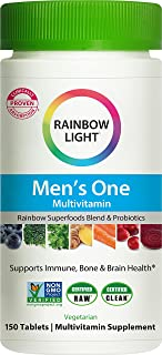 Rainbow Light Men's One Daily High Potency Multivitamin for Immune Support with Vitamin C, D & Zinc, 150 Tablets, Non-GMO,...