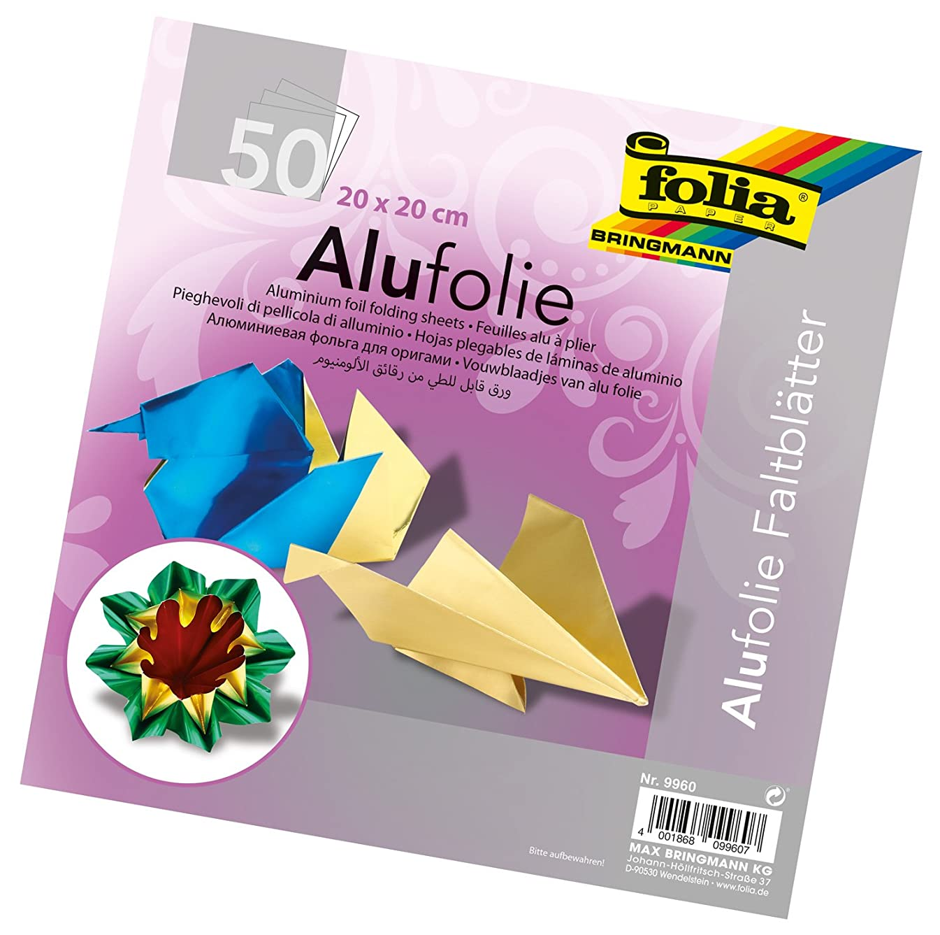 Global Art Materials 9960 Folia Aluminum Origami Paper 8-Inch-by-8-Inch 50 Sheets, 8