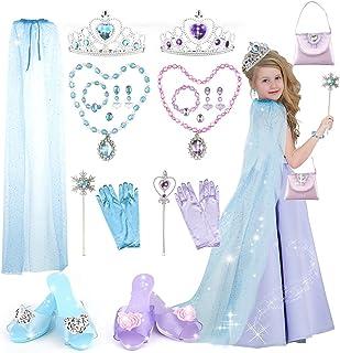 Princess Dress Up Shoes & Jewelry Boutique-Chibon Princess Toys with Purse, Blue Princes Cloak, Crowns, Wands Toy Set, Pri...