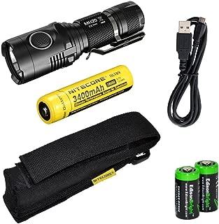 Nitecore MH20 CREE XM-L2 U2 LED 1000 Lumen USB Rechargeable Flashlight, Nitecore NL189 18650 3400mAh rechargeable Li-ion battery, USB charging cable, Holster 2 X EdisonBright Cr123A lithium batteries bundle