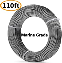 110 Feet T316-Stainless Steel 1/8'' Stainless Steel Aircraft Wire Rope Cable for Cable Railing Kit, Deck Stair Railing Hardware DIY Balustrade, 7x7 T316 Marin Grade