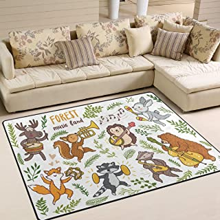 ALAZA Home Decoration Forest Animals Fox Raccoon Badger Bear Rabbit Hengehog Squirrel Moose Large Rug Floor Carpet Yoga Mat, Modern Area Rug for Children Kid Playroom Bedroom, 5' x 7'